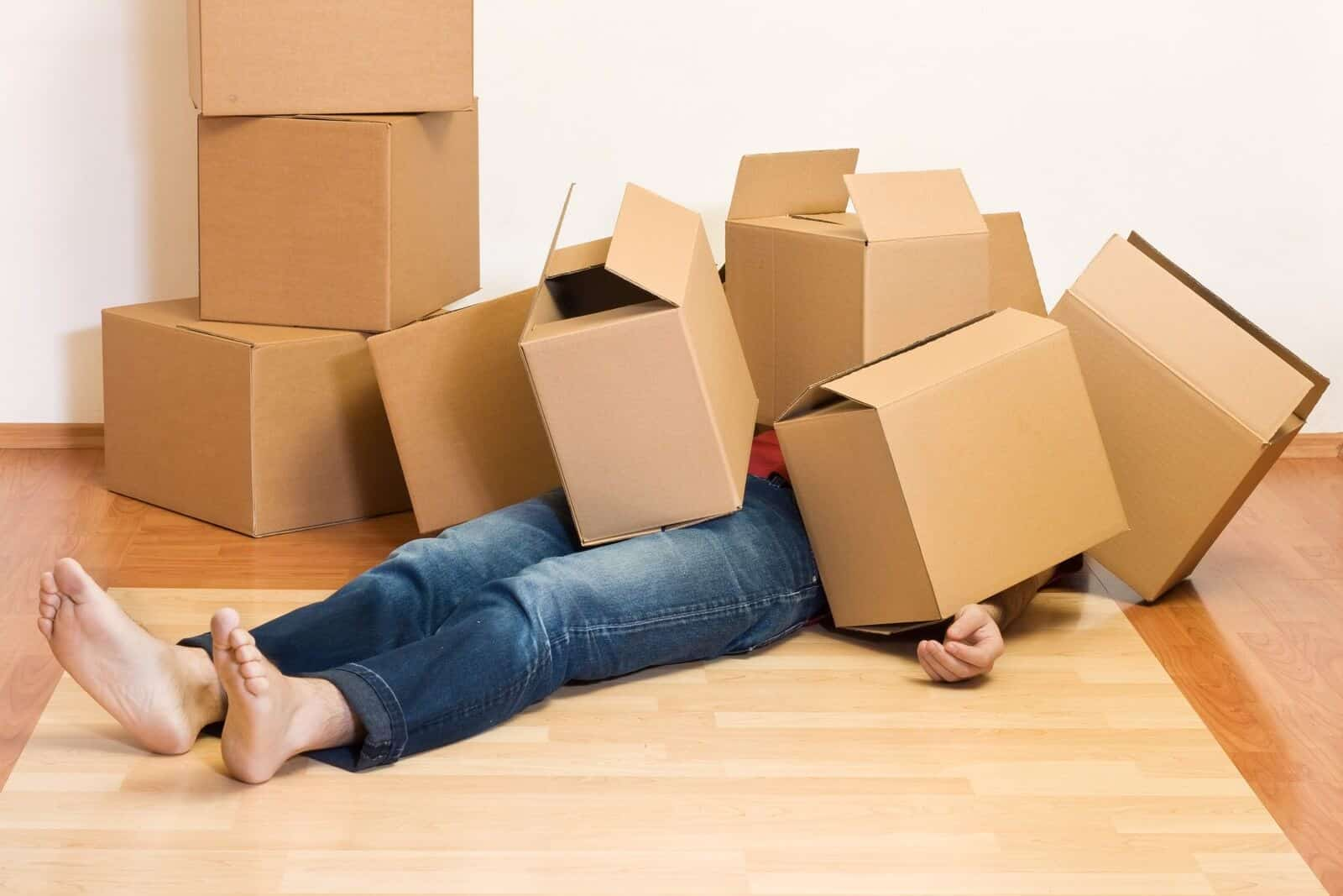 moving person under boxes in denver